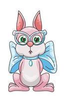 un simpatico coniglio rosa che indossa occhiali blu e collana a nastro, disegno animale fumetto illustrazione vettoriale
