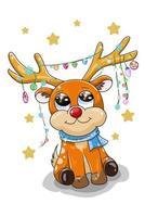 un piccolo cervo arancione carino che indossa soprammobili natalizi sulle corna vettore