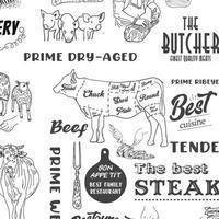 carne disegnata a mano, bistecca, manzo e maiale, modello senza cuciture di agnello vettore