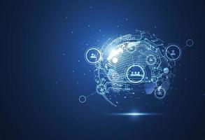 connessione di rete globale vettore