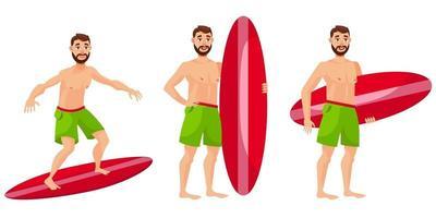 surfista in diverse pose. vettore