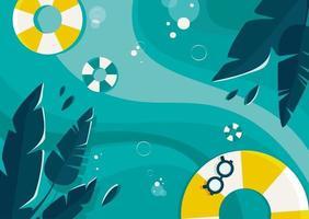 modello di banner con oceano e foglie di palma. vettore
