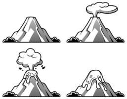 insieme di vulcani di vari gradi di eruzione. illustrazione in stile incisione. vettore