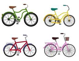 set di biciclette diverse. vettore