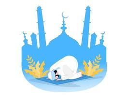 preghiera di preghiera musulmana religiosa in abiti tradizionali sullo sfondo della moschea vettore