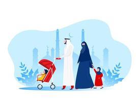 Famiglia araba musulmana che cammina in un parco con i bambini, illustrazione piana di vettore dei personaggi dei cartoni animati.