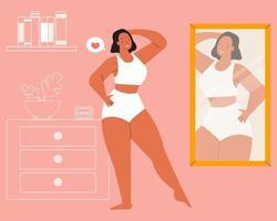 ragazza guardandosi allo specchio. amore per se stessi, positività del corpo e concetto di accettazione del corpo. vettore