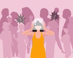 donne con disturbo d'ansia sociale o fobia sociale vettore