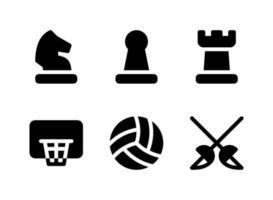 semplice set di icone solide vettoriali relative allo sport