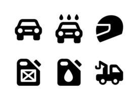 semplice set di icone solide vettoriali relative automobilistiche