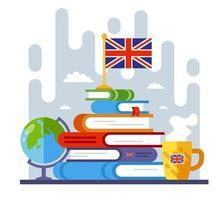 montagna di libri sullo studio della lingua inglese. obiettivo nell'apprendimento di una lingua straniera. illustrazione vettoriale piatta.