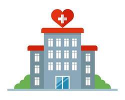 edificio ospedaliero con un segno di cuore. ospedale di maternità per le donne. illustrazione vettoriale piatta.