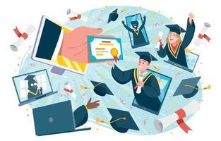 concetto di cerimonia di laurea virtuale online vettore