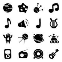 vettore di progetto per bambini relativi a musica, spazio e tecnologia