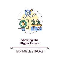 che mostra l'icona del concetto di immagine più grande vettore