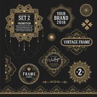 Insieme di elementi di design grafico vintage retrò per telaio, etichette, vettore