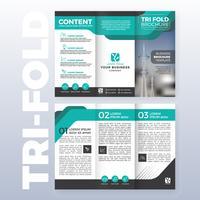 Modello di brochure aziendale tri-fold design con colore turchese vettore