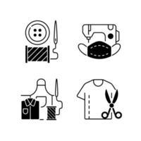 set di icone lineare nero di alterazione dell'abbigliamento vettore
