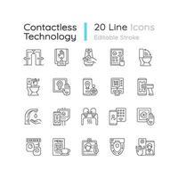 set di icone lineari di tecnologia contactless vettore