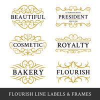 Set di cornici fiorite di calligrafia design per affari e produ