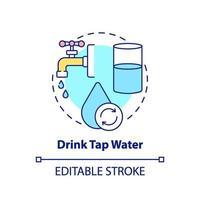 Bere acqua del rubinetto concetto icona vettore