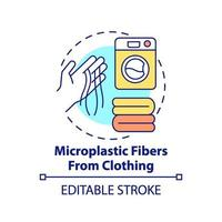 fibre microplastiche dall'icona del concetto di abbigliamento vettore