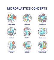 set di icone di concetto di microplastiche vettore
