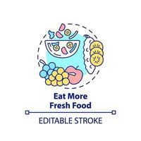 mangiare più icona del concetto di cibo fresco vettore