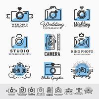 Set di fotografia e fotocamera servizio logo insegne design. vect vettore