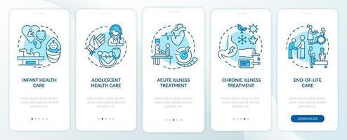 il medico di famiglia supporta la schermata della pagina dell'app mobile di onboarding blu con i concetti vettore