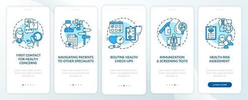Attività del medico di famiglia Schermata della pagina dell'app mobile di onboarding blu con concetti vettore