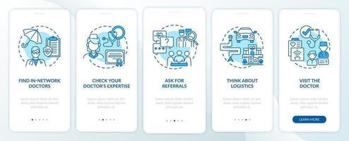 scegliendo i consigli del medico di base sulla schermata della pagina dell'app mobile di onboarding blu con i concetti vettore