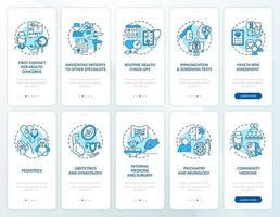 schermata della pagina dell'app mobile di onboarding blu medico di famiglia con concetti impostati vettore