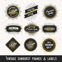 Set di telaio ed etichetta con design vintage sunburst. Lig. Vintage vettore