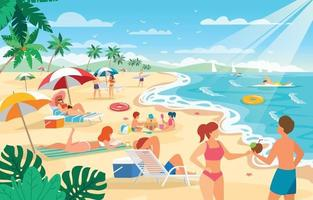 persone che si godono l'estate in spiaggia vettore