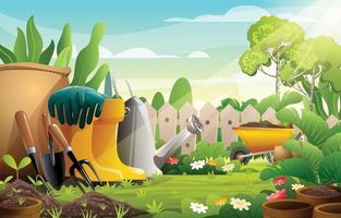 giardino con attrezzi da giardinaggio concetto di sfondo vettore