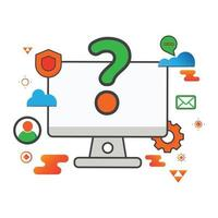 illustrazione di domanda. illustrazione del computer. illustrazione vettoriale piatta. può utilizzare per, elemento di design dell'icona, interfaccia utente, web, app mobile.