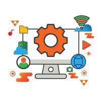 illustrazione dell'impostazione. illustrazione del computer. icona di vettore piatto. può utilizzare per, elemento di design dell'icona, interfaccia utente, web, app mobile.
