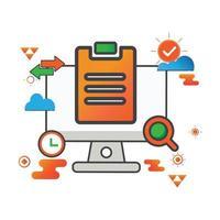 illustrazione del compito. illustrazione del computer. icona di vettore piatto. può utilizzare per, elemento di design dell'icona, interfaccia utente, web, app mobile.