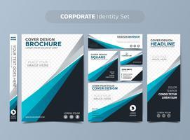 set di identità aziendale blu