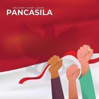 giorno di pancasila con la mano che tiene la bandiera indonesiana vettore