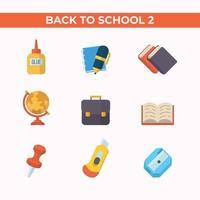 set di icona piana di scuola di istruzione vettore