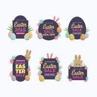 set di decorazione etichetta di vendita di Pasqua con lo sconto vettore