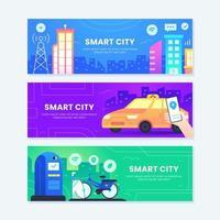 modello di set di banner città intelligente vettore