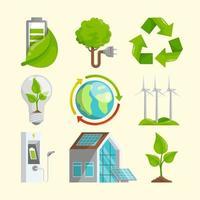 collezione di icone di tecnologia verde vettore