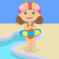 bambina con salvagente gonfiabile accanto alla piscina vettore
