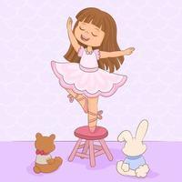 piccola ballerina. ragazza che balla ai suoi giocattoli vettore