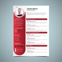 modello di progettazione curriculum rosso vettore