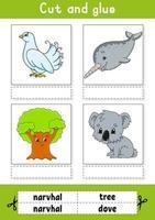 tagliare e incollare. gioco per bambini. imparare le parole inglesi. foglio di lavoro per lo sviluppo dell'istruzione. pagina delle attività a colori. personaggio dei cartoni animati. vettore