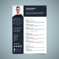 Modello di progettazione del curriculum minimalista vettore